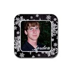Coaster black snowflakes - Rubber Coaster (Square)