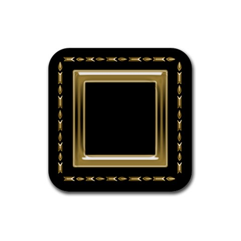 Black And Gold Coaster By Deborah   Rubber Coaster (square)   Qh63xg84oj5l   Www Artscow Com Front