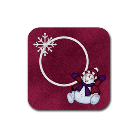 5 Little Snowmen Coaster 1 By Lisa Minor   Rubber Coaster (square)   2p6jvr410p8e   Www Artscow Com Front