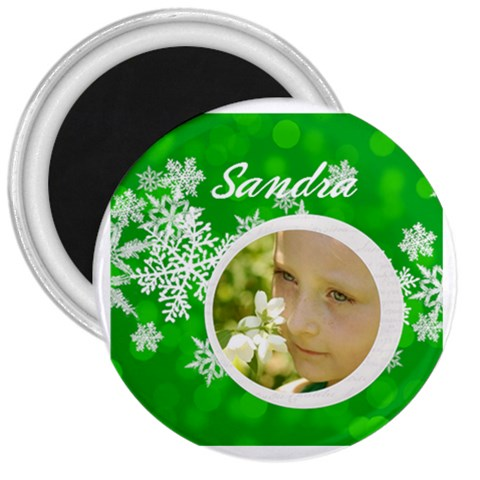3 magnet Round Green Snowflake By Laurrie   3  Magnet   Bux6r7ybodxf   Www Artscow Com Front