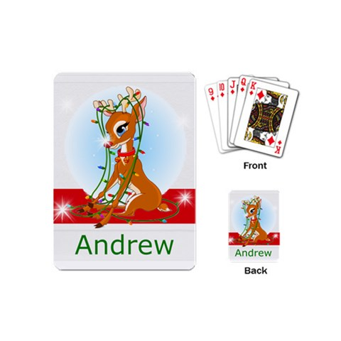 Mini Playing Cards Stocking Stuffer Gift Rudolph By Laurrie   Playing Cards (mini)   M9h960h0a1rq   Www Artscow Com Back
