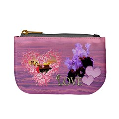 Spring Purple Floral Heart Coin Purse By Ellan   Mini Coin Purse   Qh10krzdcxzo   Www Artscow Com Front