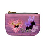 Spring purple floral heart coin purse - Mini Coin Purse