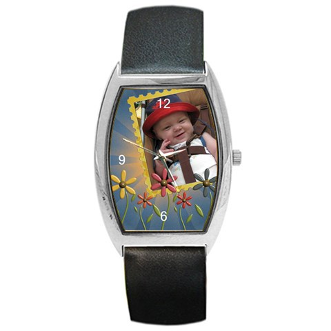 Flowers Barrel Style Metal Watch By Lil Front