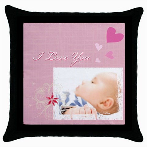 I Love You By Joely   Throw Pillow Case (black)   7j5kjvbbb543   Www Artscow Com Front