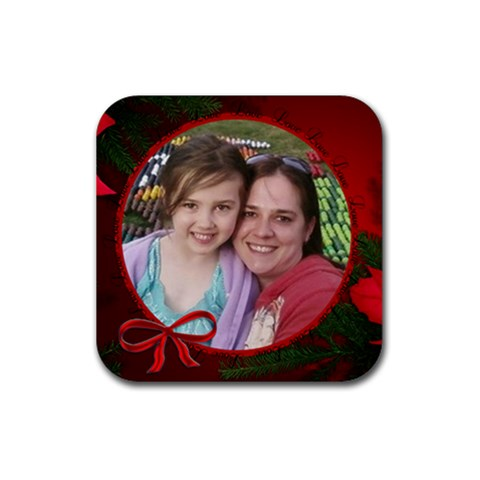 Christmas Love By Jolene   Rubber Coaster (square)   9mtfuqyafv8w   Www Artscow Com Front