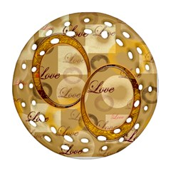 Love Gold Double Sided Filigree Ornament By Ellan   Round Filigree Ornament (two Sides)   P6kqsvas9wm7   Www Artscow Com Front