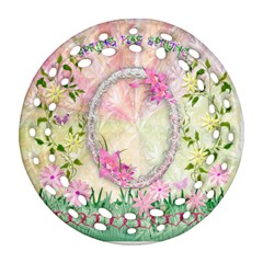 Spring Has Sprung Easter Floral Double Sided Filigree Ornament By Ellan   Round Filigree Ornament (two Sides)   Jm2bdn95fdgp   Www Artscow Com Front