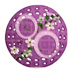 Spring purple floral double sided Filigree ornament - Round Filigree Ornament (Two Sides)