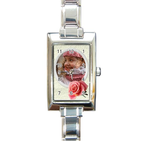 My Little Rose Charm Watch By Deborah   Rectangle Italian Charm Watch   Oy5877c20bnp   Www Artscow Com Front