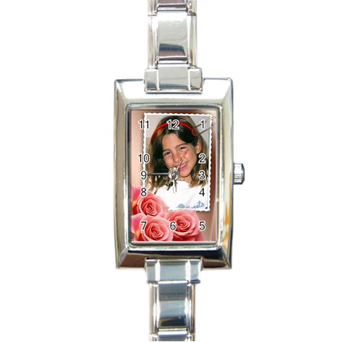 Pink Rose Charm Watch By Deborah   Rectangle Italian Charm Watch   A42dopjdu9yd   Www Artscow Com Front