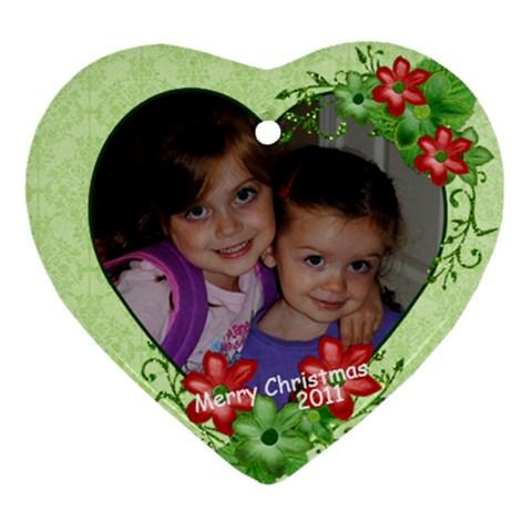 Orn 2011 Both Girls By Farron Jm   Ornament (heart)   9lu81jjfu5zx   Www Artscow Com Front