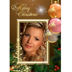 Merry Christmas In Gold 5x7 Card By Deborah   Greeting Card 5  X 7    93i6mrh8myi9   Www Artscow Com Front Cover