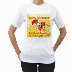 Christmas Heart Womans T Shirt By Kim Blair   Women s T Shirt (white) (two Sided)   Oci8m2pwymz9   Www Artscow Com Front