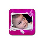 Pink Princess Coaster - Rubber Coaster (Square)