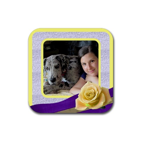 Lemon And Mauve Coaster By Deborah   Rubber Coaster (square)   Rnflfmmg56fo   Www Artscow Com Front