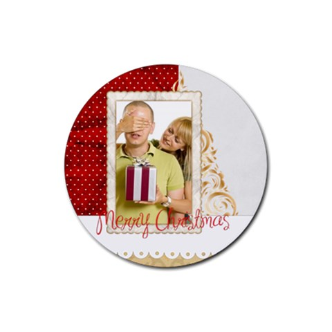 Merry Christmas By May   Rubber Coaster (round)   A5xumi7vavmj   Www Artscow Com Front
