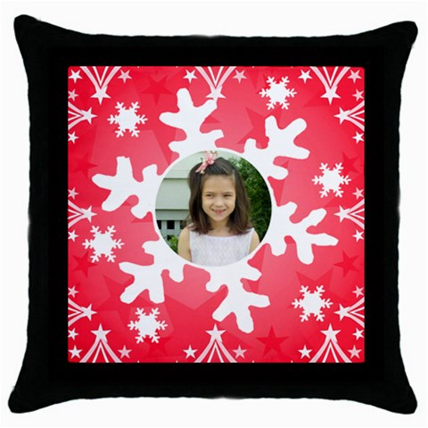 Snowflake Pillow By Kim Blair   Throw Pillow Case (black)   7lpu6o2wcbyl   Www Artscow Com Front