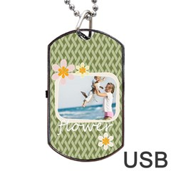 Flower By Joely   Dog Tag Usb Flash (two Sides)   2j93gm4icisa   Www Artscow Com Front