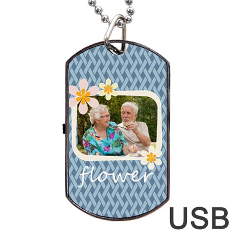 Flower By Joely   Dog Tag Usb Flash (one Side)   Q2whdvfw0pvp   Www Artscow Com Front