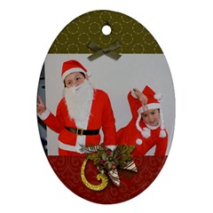 Oval Ornament (two Sides) Christmas5 By Jennyl   Oval Ornament (two Sides)   Bzvdlde352ym   Www Artscow Com Front