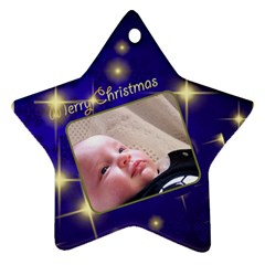 Merry Christmas Blue Star (2 Sided) By Deborah   Star Ornament (two Sides)   A97hiasethwz   Www Artscow Com Front
