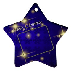 Merry Christmas Blue Star (2 Sided) By Deborah   Star Ornament (two Sides)   A97hiasethwz   Www Artscow Com Back