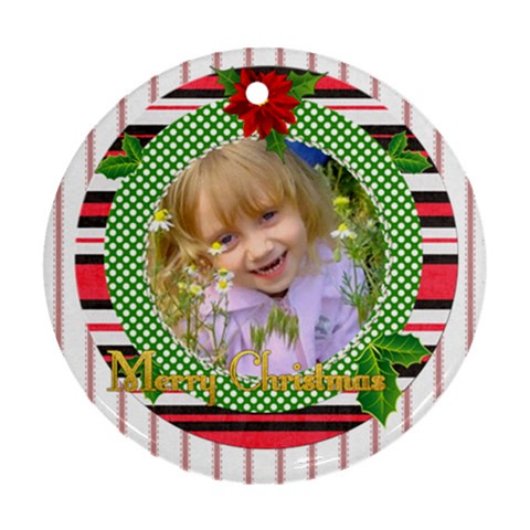 Xmas Idea By Divad Brown   Ornament (round)   Wpxz343poimq   Www Artscow Com Front
