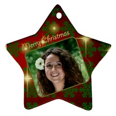 Merry Christmas Red And Green Star (2 Sided) By Deborah   Star Ornament (two Sides)   E3l2qaauhbyr   Www Artscow Com Front