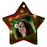 Merry Christmas Red and Green Star (2 sided) - Star Ornament (Two Sides)