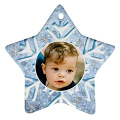 My Ice Blue Star Snowflake (2 Sided) By Deborah   Star Ornament (two Sides)   M33h79anyeut   Www Artscow Com Front