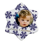 Blue Snowflake Ornament (2 sided) - Snowflake Ornament (Two Sides)