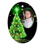 Green Christmas Tree ornament (2 Sided) - Oval Ornament (Two Sides)