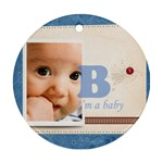 baby blue - Round Ornament (Two Sides)