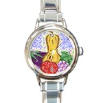 Fruit and Veggies Round Italian Charm Watch