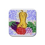 Fruit and Veggies Rubber Square Coaster (4 pack)