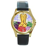 Fruit and Veggies Round Gold Metal Watch