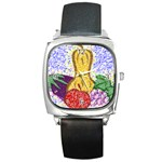 Fruit and Veggies Square Metal Watch