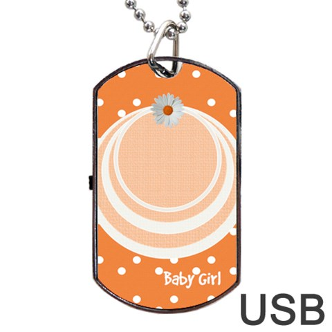 My Baby Girl Orange Dogtag Usb 1s By Daniela   Dog Tag Usb Flash (one Side)   Q5jzbu3h6fi8   Www Artscow Com Front