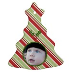 Striped Mistletoe Ornament - Christmas Tree Ornament (Two Sides)