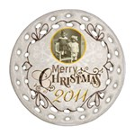 Merry Christmas 2011 double sided filigree ornament - Round Filigree Ornament (Two Sides)