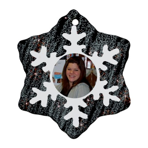 Bkack With White Snowflake Ornament By Kim Blair   Ornament (snowflake)   72ax9jovha53   Www Artscow Com Front