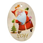 Santa Merry Christmas 2011 Oval double side ornament - Oval Ornament (Two Sides)