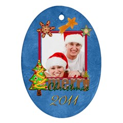 Merry Christmas Cookie 2011 Double Sided Oval Ornament By Catvinnat   Oval Ornament (two Sides)   Vky42n4szodm   Www Artscow Com Front