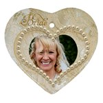 Bride & Groom Heart Double Sided Ornament - Heart Ornament (Two Sides)