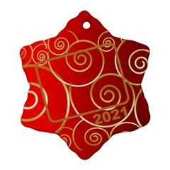 Red And Gold 2016 Snowflake (2 Sided) By Deborah   Snowflake Ornament (two Sides)   05yyqhz4uuwb   Www Artscow Com Back