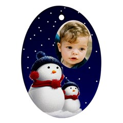 Snowmen Oval Ornament (2 Sided) By Deborah   Oval Ornament (two Sides)   Orgsj9xwy15j   Www Artscow Com Front