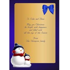Four Photo Snowmen Christmas Card (5x7) By Deborah   Greeting Card 5  X 7    Wi02d4kpylve   Www Artscow Com Back Inside