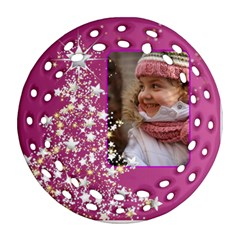 Pink Christmas Tree Filigree Ornament (2 Sided) By Deborah   Round Filigree Ornament (two Sides)   Ikjfg27bgo9v   Www Artscow Com Back