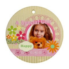 Happy Time By Joely   Round Ornament (two Sides)   Lrnebq3o5x7f   Www Artscow Com Front